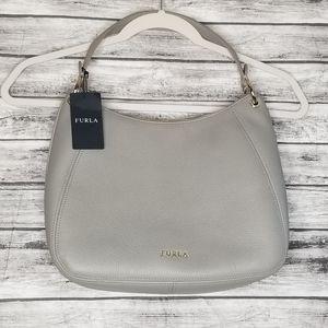 Furla Gray Leather Shoulder Bag
